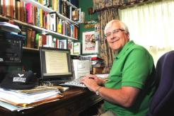 My late father, Heartbeat author Peter Walker (aka Nicholas Rhea) in his study. He used to paste rejection letters to his walls to spur him on