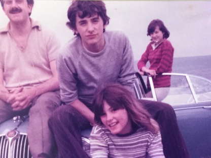 L-R Dad, brother Andrew, late sister Tricia and myself on the Jaguar up Mastiles Lane in 1978