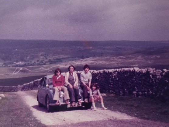 Me, far right, with my late sister Tricia, my mum and my brother Andrew sat on our Jaguar high up Mastiles Lane in 1978