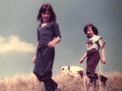 Me and my best friend Rhiannon on the farm in 1978