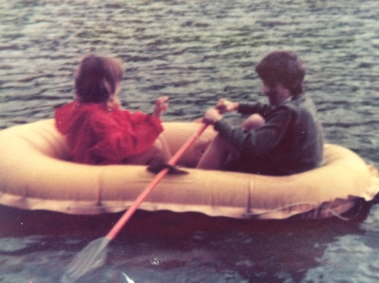 My brother and I in our borrowed dinghy on Brothers Water in the Lake District in 1978