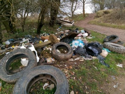Fly tipping on a country lane between Ripon and Thirsk