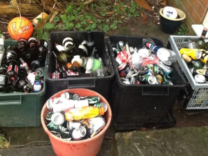 Some New Year 'empties' which helped ensure we 'made merry' at the stroke of midnight