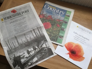 The arresting front cover of the Armistice weekend Yorkshire Post