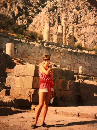 Me in my student days at the sacred ancient Greek ruins of Delphi