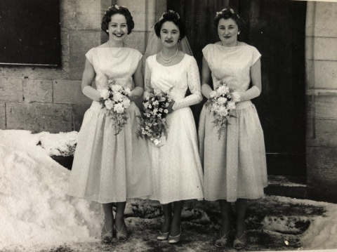 Mum on her wedding day on 10th January 1959 with her sisters Jennifer, left, and Margaret, right, who must have been shivering in their short-sleeved gowns